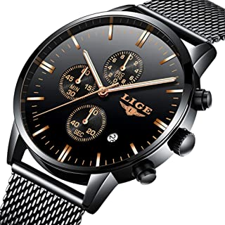 Mens Watches Fashion Waterproof Stainless Steel Analog Quartz Watch Men Luxury Brand LIGE Black Classic Casual Date Mesh Wrist Watch…