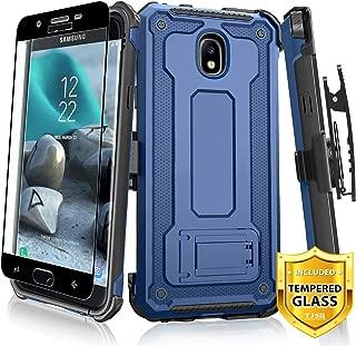 TJS Case for Samsung Galaxy J7 2018/J7 Refine/J7 Star/J7 Eon/J7 TOP/J7 Aero/J7 Crown/J7 Aura/J7 V 2nd Gen Case, [Full Coverage Tempered Glass Screen Protector] 360° Belt Clip Holster Kickstand (Blue)