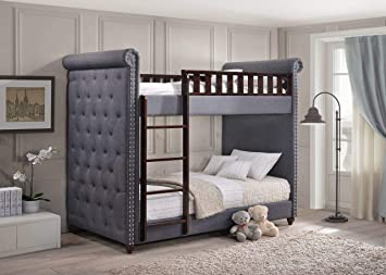 Aprodz Cindy Upholstered Bunk Bed For Bedroom Fabric Upholstered Denim Blue Dark Brown Amazon In Furniture