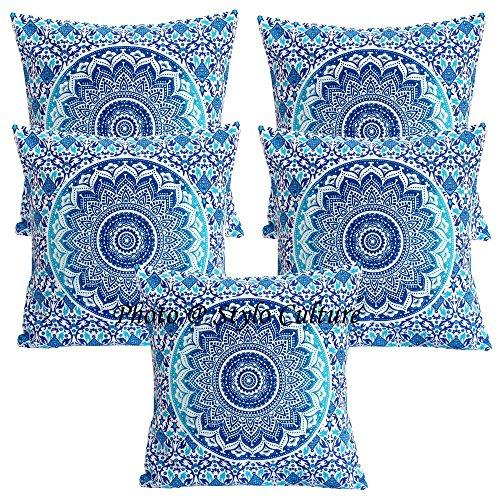 Stylo Culture Estuches étnicos Cojines Scatter Cojines Estampados Florales Azules Cojín Cojín Cuadrado de algodón Tradicional Mandala Ombre Cojines de 40x40 cm (Juego de 5 Piezas)