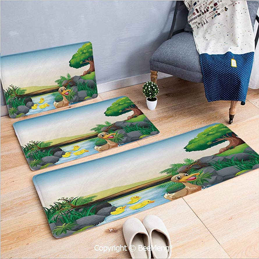 3 Piece Anti-Skid mat for Bathroom Rug Dining Room Home Bedroom,Duck,Cartoon Mother and Ducklings River Kids Fun Farm Animals Print Outdoor Little Feathers,Multicolor,16x24/18x53/20x59 inch