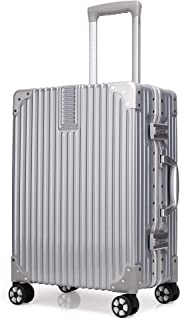 Kroeus ABS+PC Suitcase Luggage Lightweight With Retractable Trolley TSA Lock Spinner Wheels Silver 20 inch
