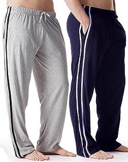 Octave® Mens 2 Pack Grey/Navy Contrast Loungewear Pants/Pyjama Bottoms