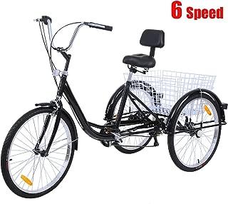 "Iglobalbuy Black 7 SpeedThree Wheel Adult Tricycle Trike 26"" W/Large Size Basket"