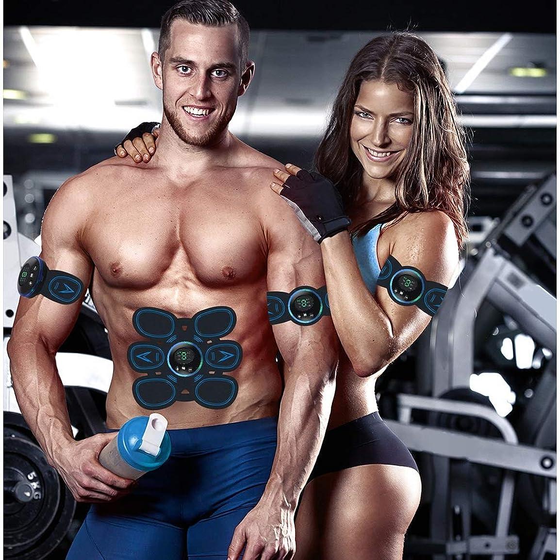 テーブルを設定する精神医学接続された新しいスマート腹部デバイスEMS筋肉刺激装置USB充電式減量細い腰筋肉トレーニングウエスト整形ボディマッサージフィットネス機器