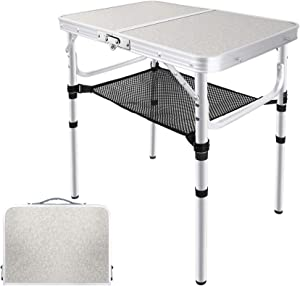 EXCELFU Folding Camping Table with Storage, Height Adjustable Portable Foldable Aluminum Camp Table, Lightweight Small Folding Table for Outdoor Indoor, Camp, Picnic, Cooking, Beach (3 Heights)
