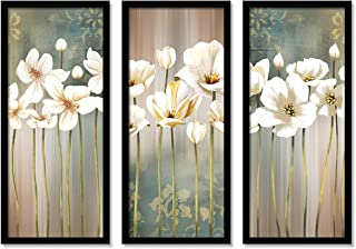 Floral Art Framed Painting / Posters for Room Decoration , Set of 3 Black Frame Art Prints / Posters for Living Room By Pa...