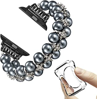 Morning Tree Compatible with Apple Watch Band 38mm/40mm Series 5 4 3 2 1 for Women/Girls, Iwatch Jewelry Pearl Diamond Rhinestone Bracelet Strap Wristband Bangle 42mm/44mm