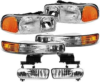 Epic Lighting OEM Style Replacement Headlight Signal Light Fog Light Combo Set for 99-07 GMC Sierra Pickup & 00-06 Yukon/XL [ 6-Piece ] Driver and Passenger Sides