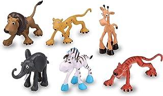 Kid Galaxy Preschool Safari Animal Figures. Lion, Zebra, Leopard, Giraffe, Elephant, Tiger Baby Zoo Toy Playset