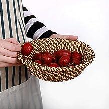 MU Vintage rattan, tkany okrągły kosz do gospodarstwa domowego, z uchwytem, rondel zapobiegający nagrzewaniu się tray, kos...