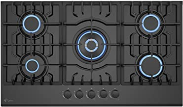 Empava 36 Inch Gas Stove Cooktop 5 Italy Sabaf Sealed Burners NG/LPG Convertible in Black..
