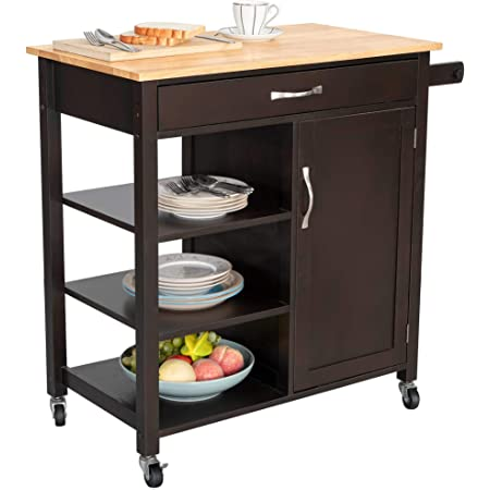 Amazon Com Bizroma Rolling Kitchen Island Kitchen Cart With Wheels Butcher Block Island With Solid Wood Top Kitchen Storage Cabinets With Towel Rack Open Shelves Doors And Drawers Espresso Kitchen Islands