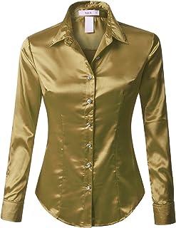 f4444b74c3933 RK RUBY KARAT Womens Satin Silk Work Button Down Blouse Shirt with Cuffs