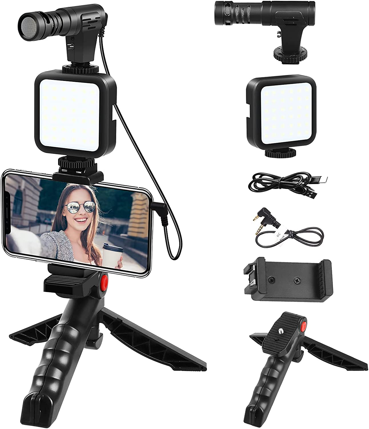 Microphone Omaha Mall for iPhone Smartphone Special price Video Kit with L LED