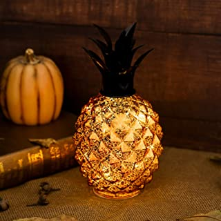 Romingo Mercury Glass Pineapple Lamp 9 Inch Batteries Operated with Timer for Home Decoration, Birthday Gift, Gold