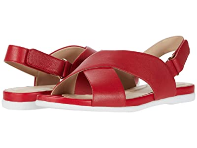 Cole Haan Grand Ambition Flat Sandal (Tango Red Tumbled Leather) Women