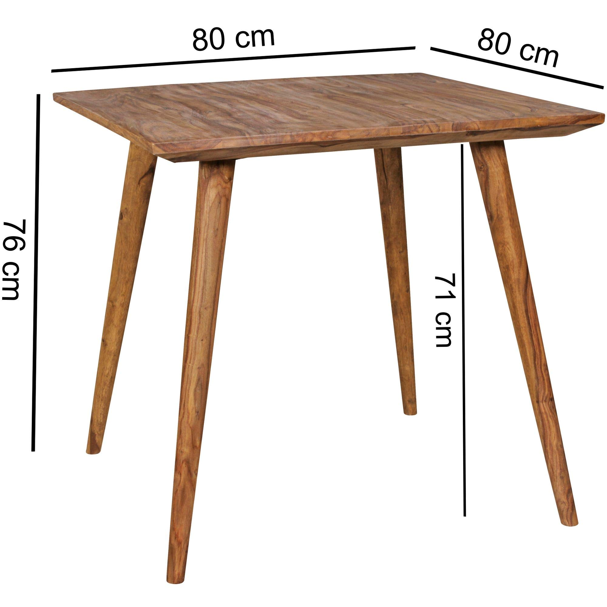 Mesa de Comedor REPA 80 x 80 x 76 cm Sheesham rústica de Madera Maciza. Diseño de casa de Campo Mesa de Comedor. Mesa Cuadrada para el Comedor. 4 Personas: Amazon.es: Hogar