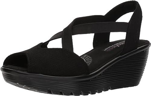 Skechers Wohommes Parallel-Piazza-Peep Toe Toe Goruge Slingback Wedge Sandal, noir, 5.5 M US  gros pas cher