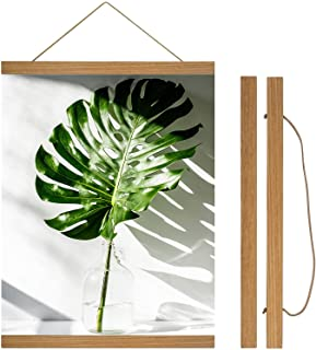 Magnetic Poster Hanger Frame - 12x16 12x18 12x24 Teak Wood Poster Frames for Posters, Prints, Photos, Scroll, Pictures or ...