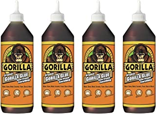 Gorilla Original Gorilla Glue, Waterproof Polyurethane Glue, 36 ounce Bottle, Brown, (Pack of 4)