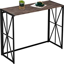 Folding-Console Table, No-Assembly Tall Sofa Entryway Table, 8 Seconds Finish Installation Industrial Hallway Wall Table w...