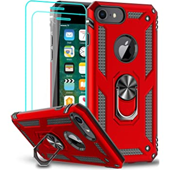 LeYi iPhone 8 Case, iPhone 7 Case, iPhone 6s/ 6 Case with Tempered Glass Screen Protector [2Pack], Military Grade Protective Phone Case with Ring Car Mount Kickstand for iPhone 6/6s/7/8, Red