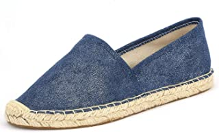 Espadrille Flats for Women, Slip on Espadrille Loafers Sneakers Shoes Navy Blue Tan Brown Rose Gold Silver Red Ladies Canvas/Faux-Suede Espadrilles for Women(04-9-86 / Navy, US-5)