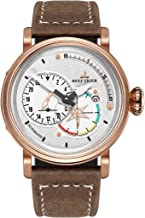 Reef Tiger Mens Watches Rose Gold Case Genuine Leather Strap Automatic Pilot Watch with Date RGA3019
