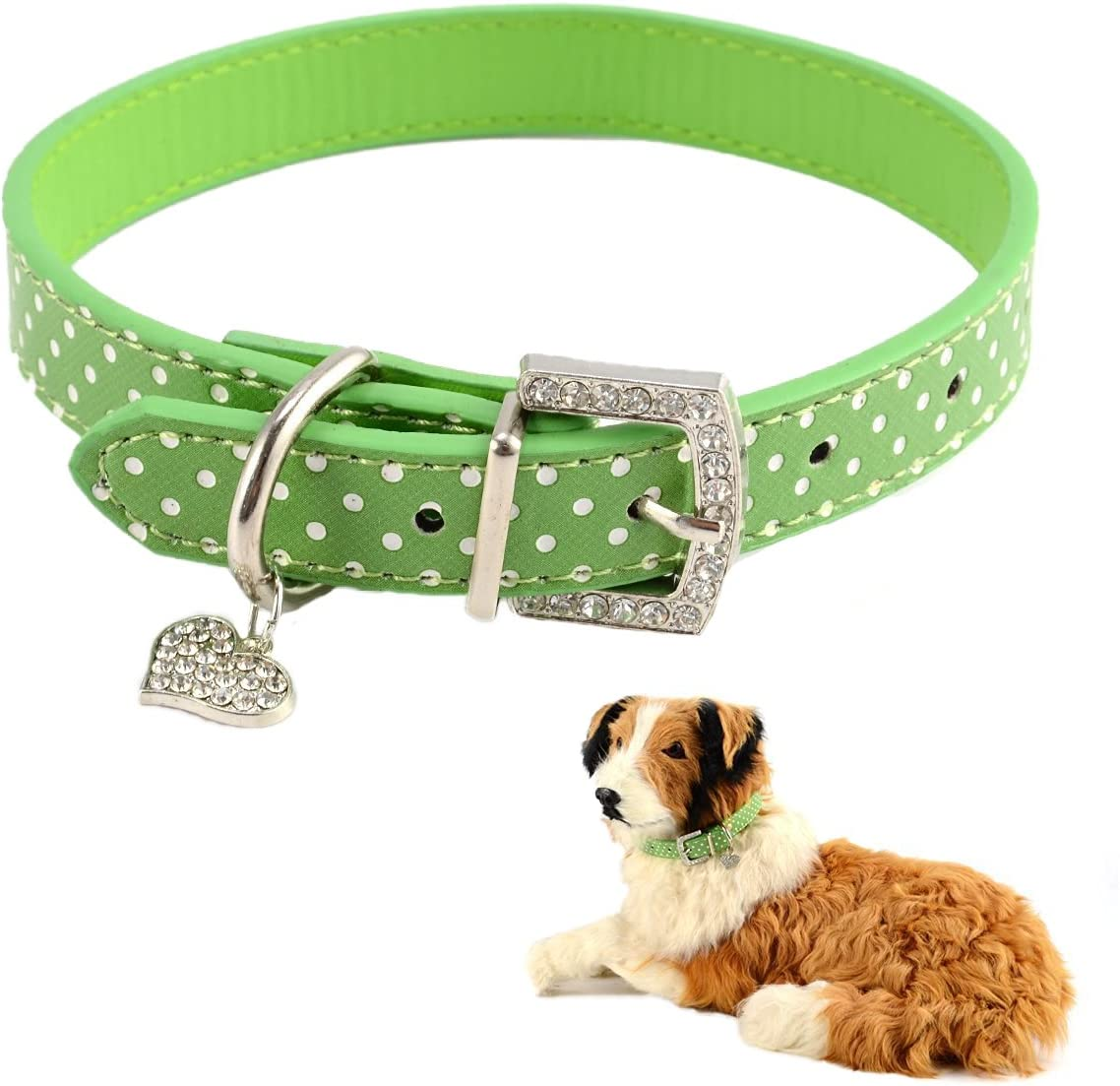 5% OFF Free shipping anywhere in the nation Mummumi Small Dog Collar Cat Adjustable Leather Dots PU