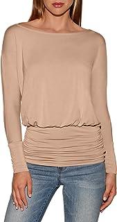 Boston Proper Beyond Basics Women's Wide Neck Long Sleeve Blouson Knit Top