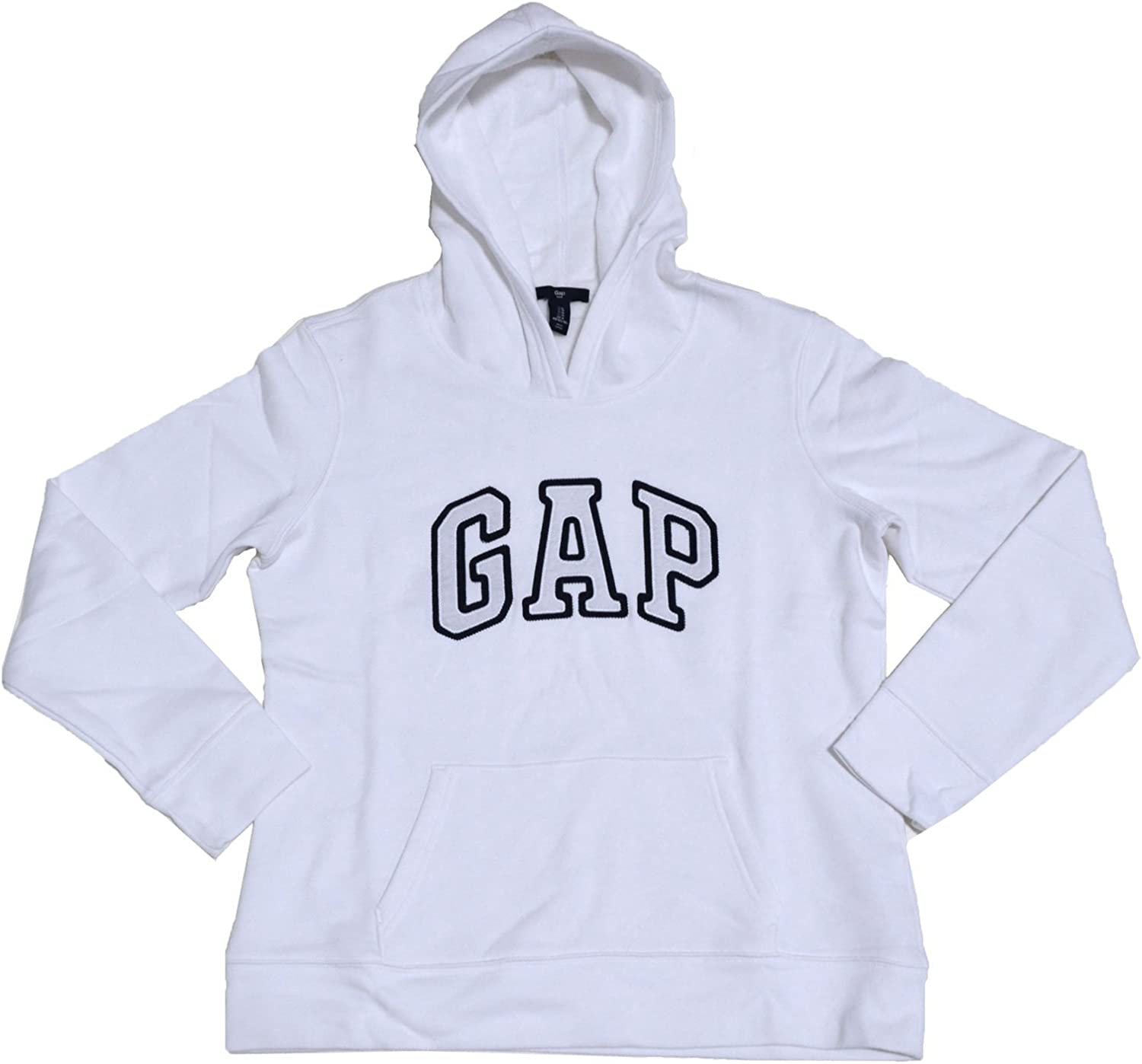 GAP Womens Fleece Arch Logo Pullover Hoodie (Bright White, Small)