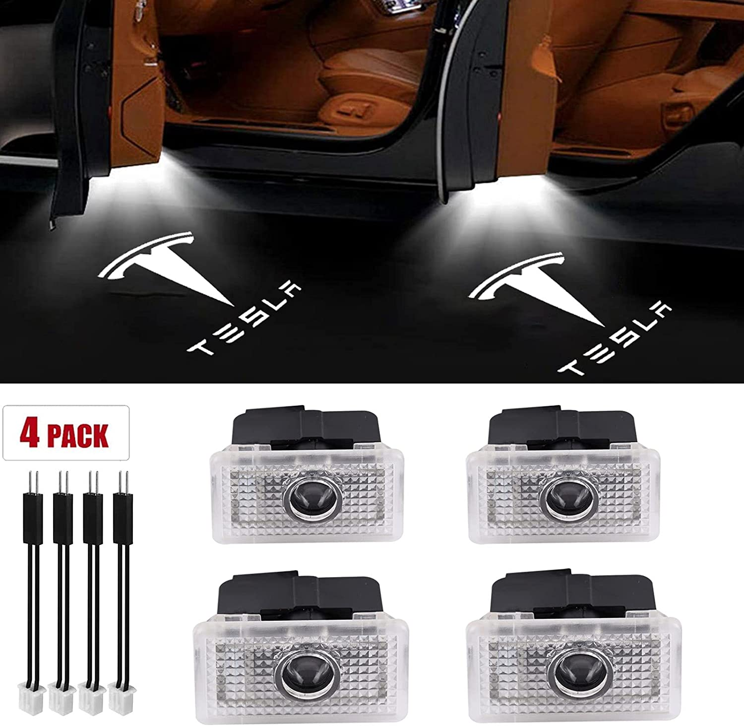 4 Pack For Tesla Model 3 S All items free shipping Car X Projector LED Door Lig Indefinitely Logo