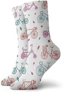 Patrón de bicicleta Calcetines casuales transpirables Calcetines deportivos de viaje Yoga Caminar Ciclismo Correr Fútbol 30cm