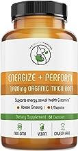 Energy Pills Organic Maca Root - Testosterone Booster with Korean Red Ginseng & L-Theanine - Libido Enhancement for Men & Women - Gluten-Free Vegan Non-GMO Supplement Capsules