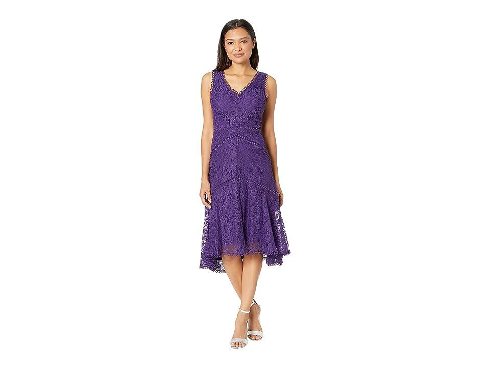 Taylor V-Neck Sleeveless Lace Dress (Purple) Women