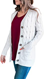 Womens Cable Knit Cardigan Pocket Sweater Oversized...