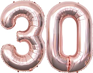 Rose Gold Number Balloons 40 Inch Mylar Foil Number 30 Balloons Birthday Party Decorations,Digital 30