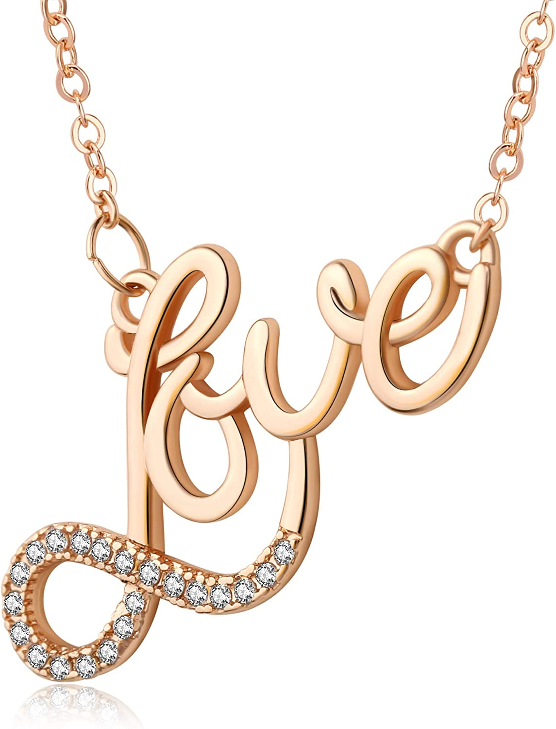 Kruckel Let me Love You Rose Shiny Sparkling Necklace Made with Zircon - NLS0050