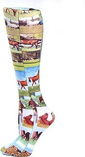 Celeste Stein Horse Collage Therapeutic Compression Socks, 8-15 Mmhg Mild