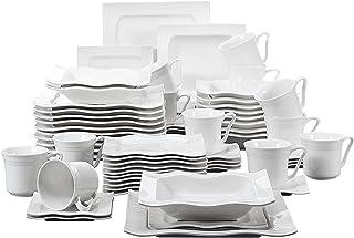 MALACASA, Série Mario, 60pcs Services de Table Complets Porcelaine, 12 Tasses, 12 Soucoupe, 12 Assiettes à Dessert, 12 Ass...