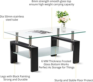 Smile Back Glass Coffee Table 39.4'' Coffee Tables for Living Room Black Table Center Tables for Living Room Frosted Glass &a