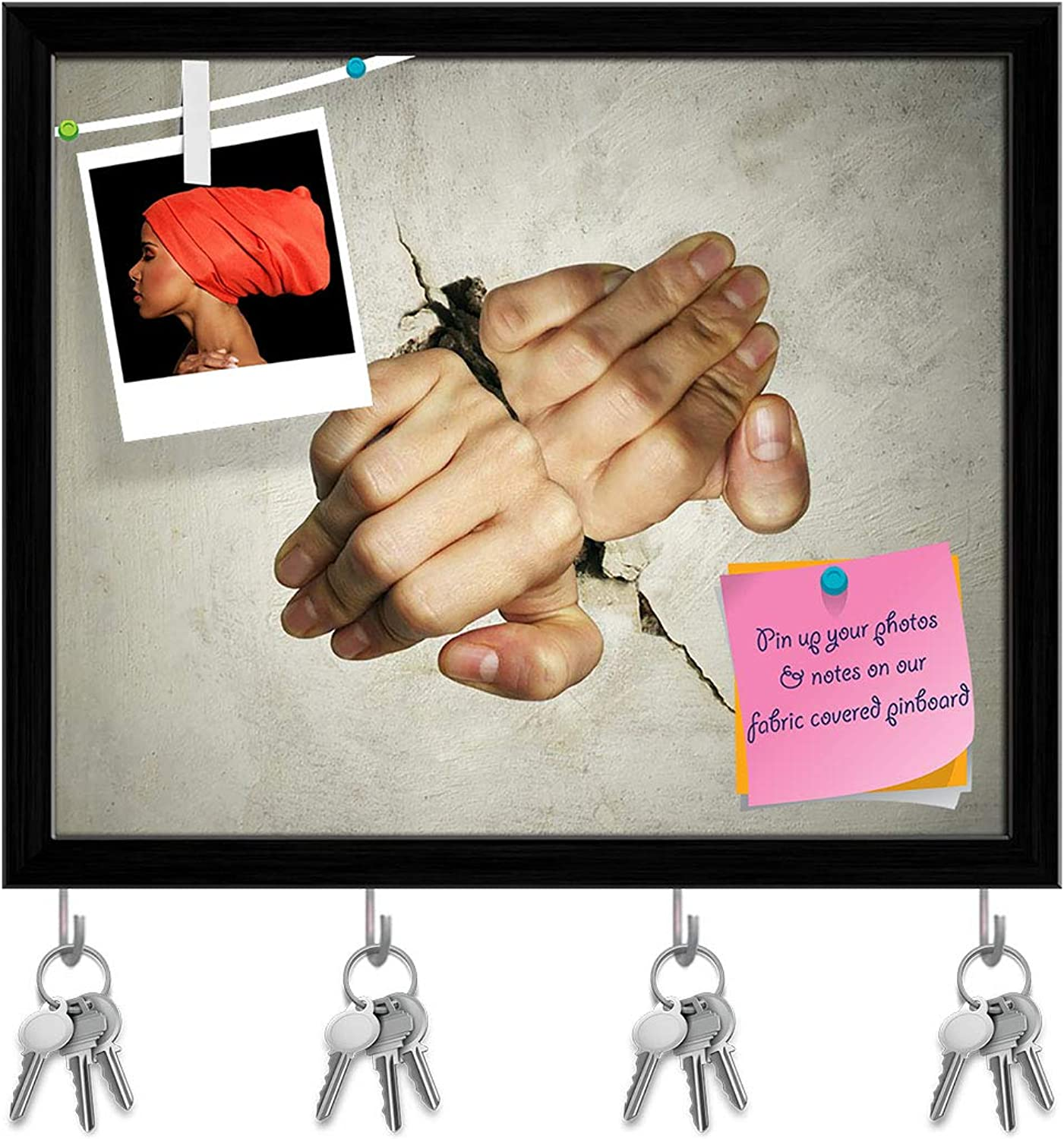 Artzfolio Two Hands Trying Hard to Break The Wall Key Holder Hooks   Notice Pin Board   Black Frame 19.3 X 16Inch