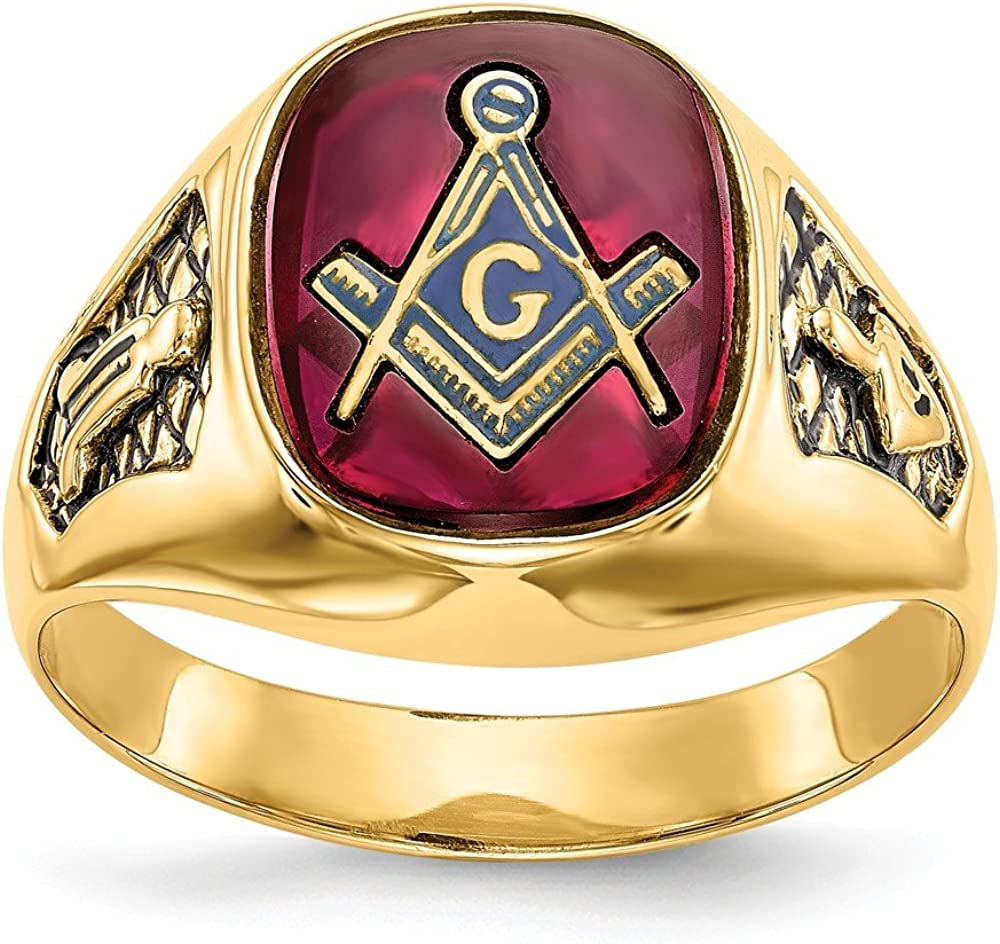 14k Yellow Gold Mens Synthetic Red Ruby Masonic Freemason Mason Band Ring Size 10.00 Man Fine Jewelry For Dad Mens Gifts For Him