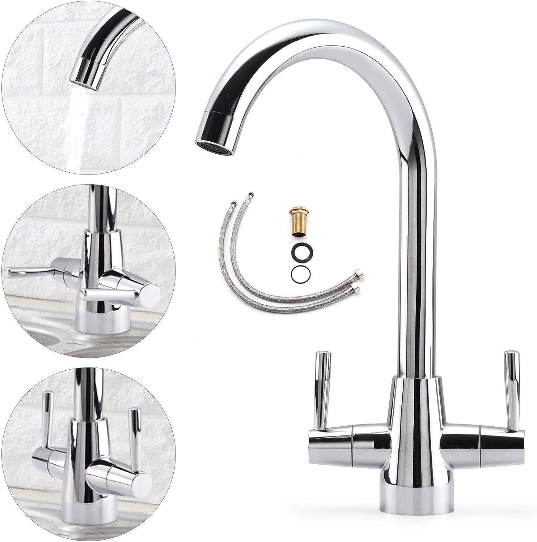 Generic Lever Swivel Tap Luxury De Luxury Designer Chrome Kitchen Mono Modern Mixer Sink Tap Twin Dual Lever Swivel Chrome Kitchen Mono Sin