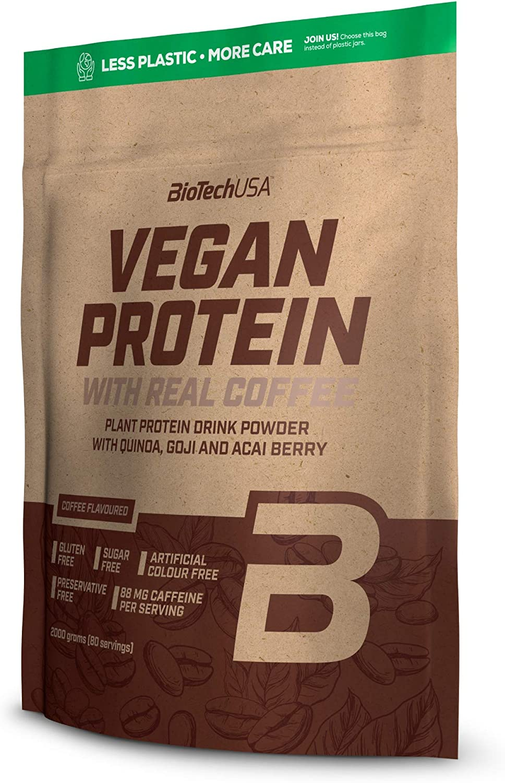 BioTechUSA Vegan Protein En polvo con sabor bebida a base de proteína vegetal, con bayas goji y acai en polvo, harina de quínoa, 500 g, Café