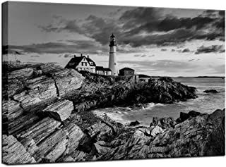 Biuteawal - Black and White Lighthouse Wall Art Portland Head Light Picture Canvas Prints Coast Seascape Photo Paintings Nature Modern Artwork for Living Room Bedroom Home Decorations