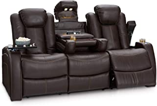Seatcraft 162E51151559-V1 Omega Home Theater Seating Leather Gel Recline Sofa with Adjustable Powered Headrests, Fold-Down Table, and Lighted Cup Holders, Brown