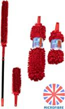 Extendable Microfibre Duster Long Handled Duster with Washable Head - Microfibre Feather Dust Fingers Attract Dust and Dirt & Long Reach Telescopic Handle Makes Cleaning Easy + Free Bonus Hand Duster
