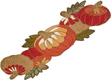 Fennco Styles Contemporary Beaded Pumpkins 13 x 35 Inch Table Runner – Orange Table Runner for Thanksgiving Dinner, Family Ga